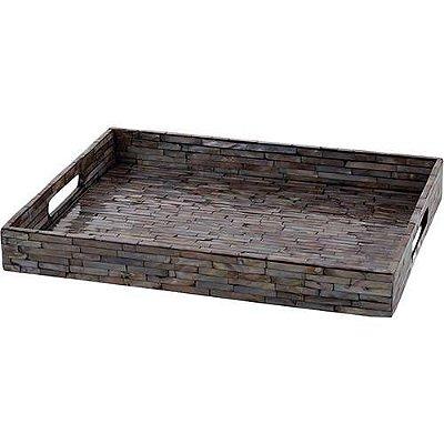 Bandeja de madeira com madreperola 38x29cm