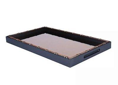 Bandeja de madeira espelho de bronze 47x27x3,5cm