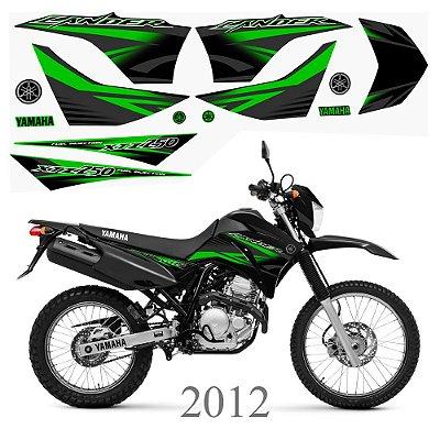 Faixa Lander 250 verde para moto preta grafismo 2012