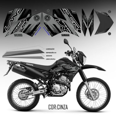 FAIXA Lander 250 cinza para moto preto grafismo 2018
