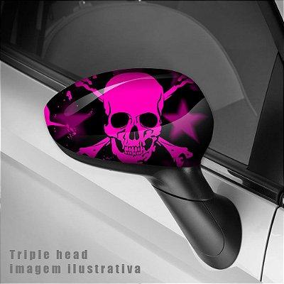 caveira rosa envelopamento retrovisor