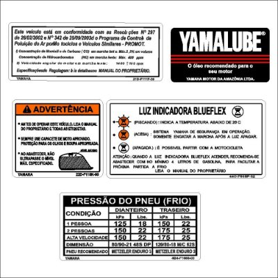 Logos advertência moto Lander 250 off road