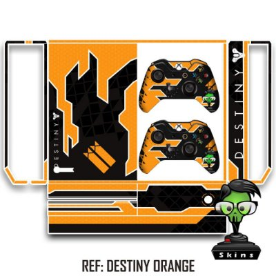 Adesivo skin xbox one fat Destiny laranja