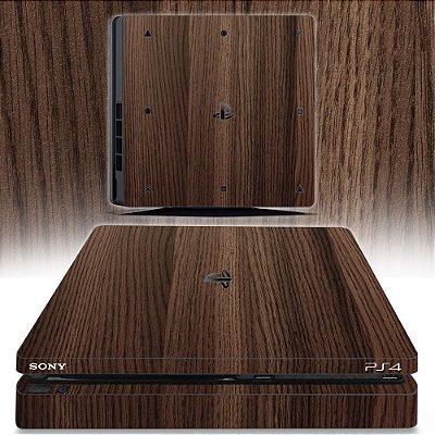 adesivo skin ps4 slim textura madeira
