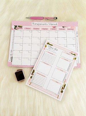 Kit Planejamento anual + Diário -  Pink Flower