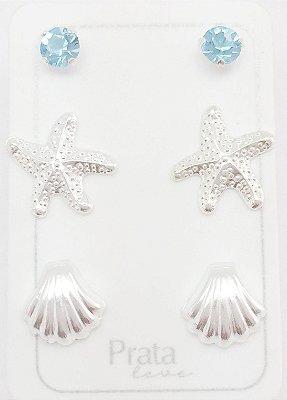 Brincos prata 925 2º furo concha, estrela do mar e ponto de luz azul