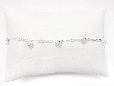 Tornozeleira prata 925 com nove pingentes coração