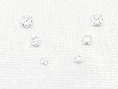 Brincos prata 950 2º furo carrê 5, 4 e 3mm