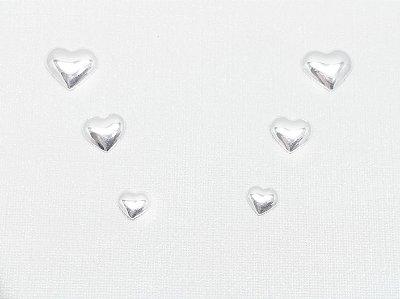 Brincos prata 950 2º furo corações 6, 5 e 4mm