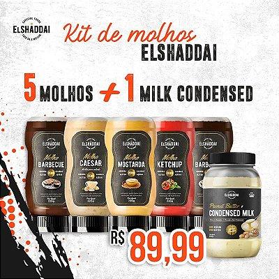 Combo 5 MOLHOS (2 barbecue + 1 Mostarda + 1 Ketchup + 1 Caesar) +1 Creme de amendoim MILK CONDENSED ( leite condensado)  .  Frete Grátis São Paulo.