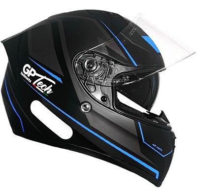 Capacete GP Tech V128 Faster Com Viseira Solar Matte - Azul