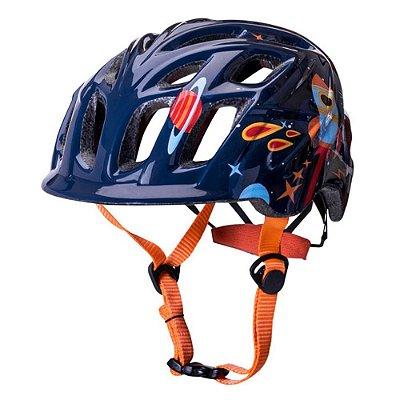 Capacete Bike Kali Chakra Infantil Galaxy (48-54cm) - Azul/Laranja
