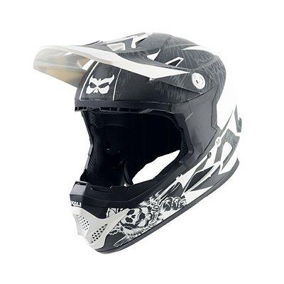 Capacete Bike Full Face Infantil Kali Naka Dark Sphinx (52-53cm) - Preto/Branco