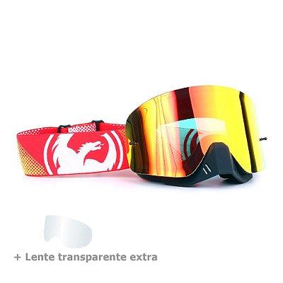 Óculos Motocross Dragon NFX Fade - Lente Vermelha Espelhada + Lente Transparente