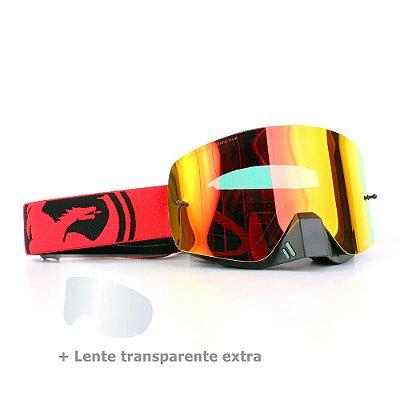 Óculos Dragon NFX-S Split Vermelho - Lente Vermelha Espelhada + Lente Transparente