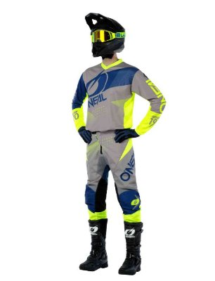 Calça + Camisa ONEAL Element Factor - Cinza/Azul/Amarelo