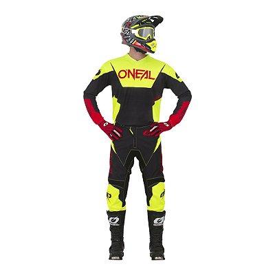 Calça + Camisa ONEAL Element Racewear - Amarelo Neon