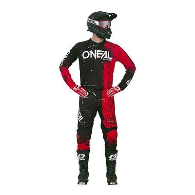 Calça + Camisa ONEAL Element Shred - Vermelho