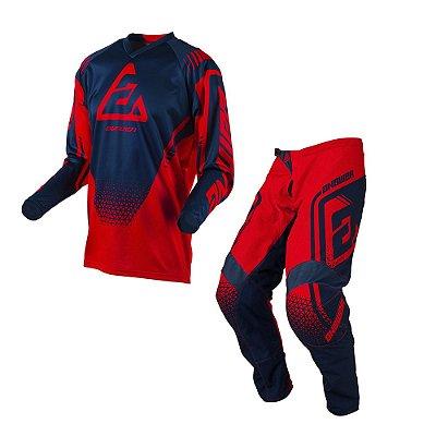Calça + Camisa Answer Syncron Drift Bright - Vermelho/Azul