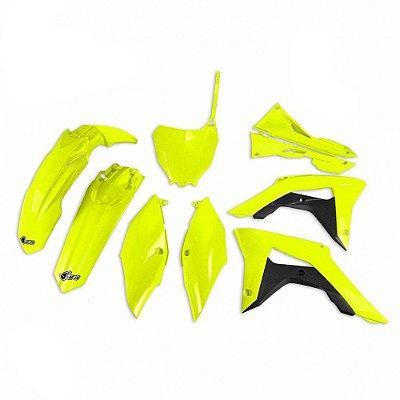 Kit Plástico Ufo CRF 250 18/20 + CRF 450 17/20 - Amarelo Fluo  - Completo (Sem Protetor De Bengala)