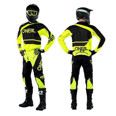 Calça + Camisa ONEAL Element Racewear - Preto/Amarelo Neon