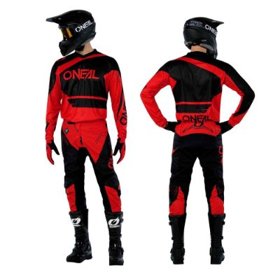 Calça + Camisa ONEAL Element Racewear - Preto/Vermelho