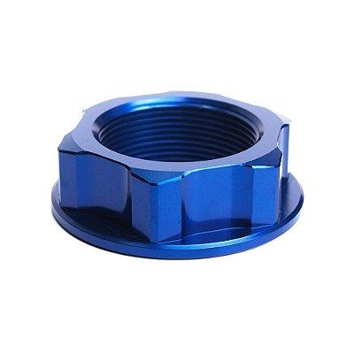 Porca para Coluna de Direção BR Parts YZF 250 01/14 + YZF 450 03/14 + YZ 125 + YZ 250 + CRF 150 - Azul