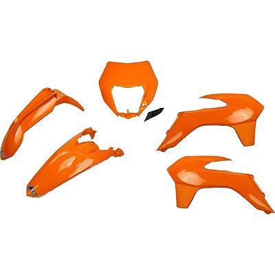 Kit Plástico Ufo KTM EXC/EXC-F 14/16 - Laranja - C/ Capa de Farol (Sem Number Lateral/Sem Protetor da Bengala)