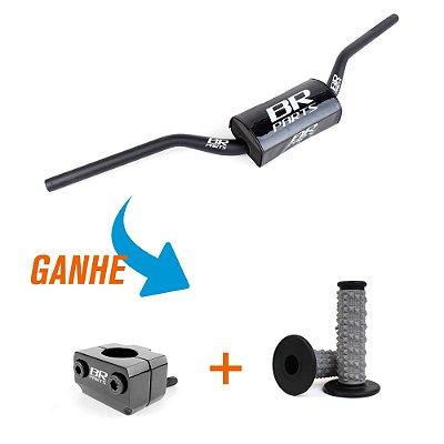 Guidão BR Parts TE 28mm Alumínio 6061 Baixo - Ganhe Manopla XTREMER + Adaptador de Guidão Universal