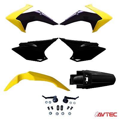 Kit Plástico AVTEC CRF 230 2015 Completo (Adaptável 2008/2018) - Amarelo/Preto