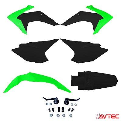 Kit Plástico AVTEC CRF 230 2015 Completo (Adaptável 2008/2018) - Verde/Preto