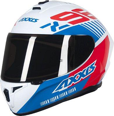 Capacete Axxis Draken Z96 Gloss - Branco/Vermelho/Azul