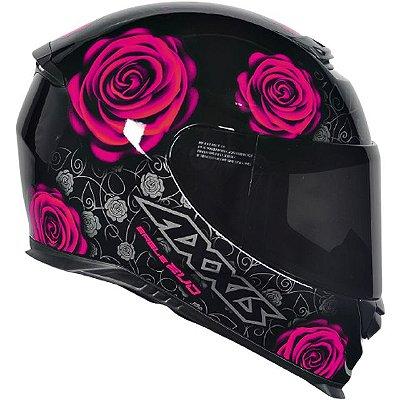 Capacete Axxis Eagle Evo Flowers Gloss - Preto/Rosa