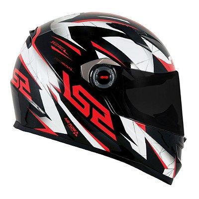 Capacete LS2 FF358 Draze - Preto/Branco/Vermelho