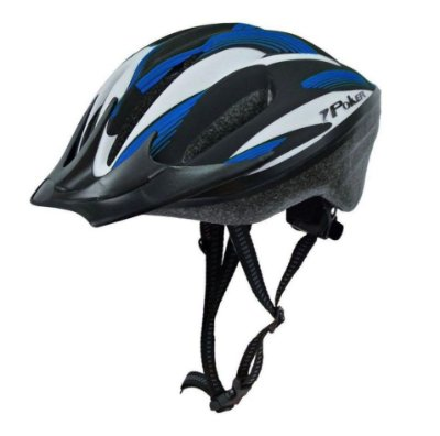 Capacete Bike Poker Out Mold Windstorm Com Led - Preto/Azul/Branco