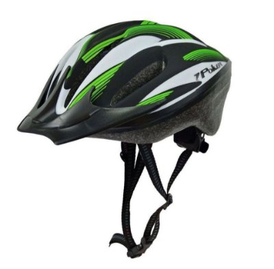Capacete Bike Poker Out Mold Windstorm Com Led - Preto/Verde/Branco