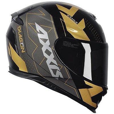 Capacete Axxis Eagle Diagon Gloss Edição Limitada - Preto/Dourado