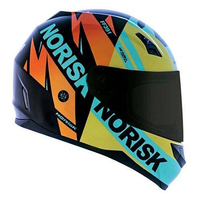 Capacete Norisk FF391 Sunt Furious - Preto/Amarelo/Azul