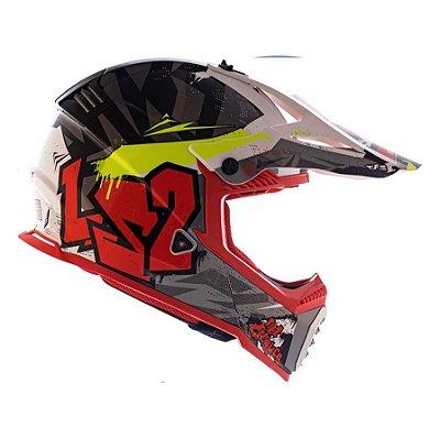 Capacete LS2 Fast MX437 Crusher - Preto/Vermelho