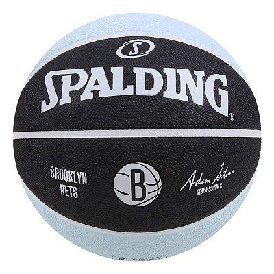 Bola De Basquete Spalding NBA Brookling Nets Preto - Borracha - Indoor / Outdoor