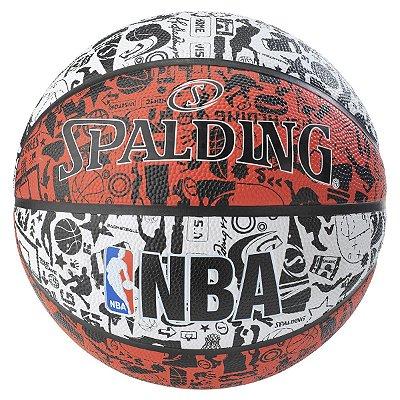 Bola De Basquete Spalding NBA Graffiti - Borracha - Branco/Vermelho