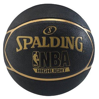 Bola De Basquete Spalding Highlight - Borracha - Preto/Dourado