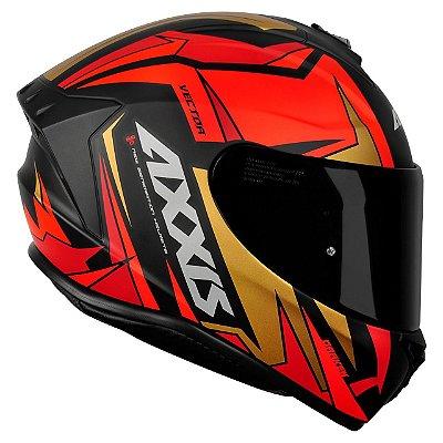 Capacete Axxis Draken Vector Matte - Vermelho/Dourado