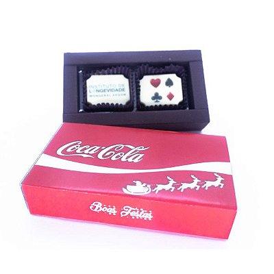 Caixa Luxo 2 Bombons Personalizados 04 Cores + Cinta Personalizada