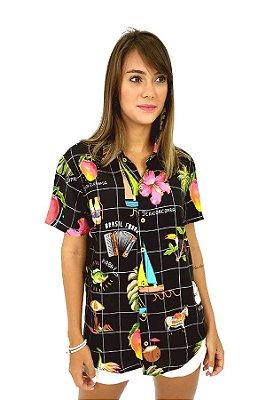 Camisa Zé Maria com Manga Curta Estampada - Leli