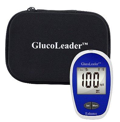 Medidor de Glicose + Estojo Porta Kit GlucoLeader