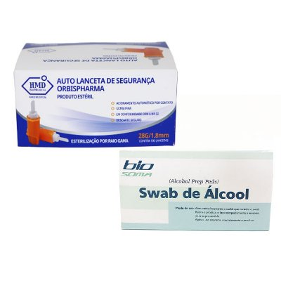 Auto Lanceta de Segurança 28G GlucoLeader c/ 100 unidades + Alcool Swabs