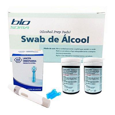 Álcool Swabs + 2 Frascos De Tiras + Lancetador + Lanc Twist