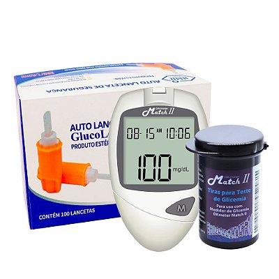 1 Medidor de Glicose + 1 Frasco de Tira Match II Ok Meter c/ 50un + Lanceta de Segurança GlucoLeader c/ 100un