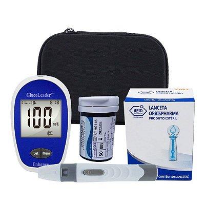 1 Medidor de Glicemia + 1 Frasco Tira GlucoLeader + 1 Caixa de Lanceta Twist 28g c/ 100 + 1 Caneta Lancetadora + Estojo